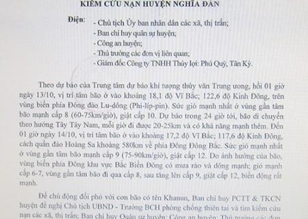 Công điện của ban chỉ huy PCTT và TKCN huyện Nghĩa Đàn