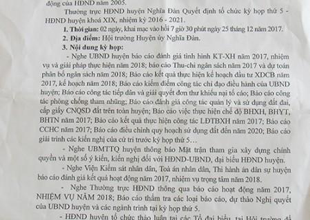Thông báo kỳ họp thứ V, HĐND huyện Nghĩa Đàn khóa XIX