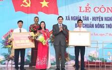 Nghĩa Tân đón Bằng công nhận xã đạt chuẩn Nông thôn mới