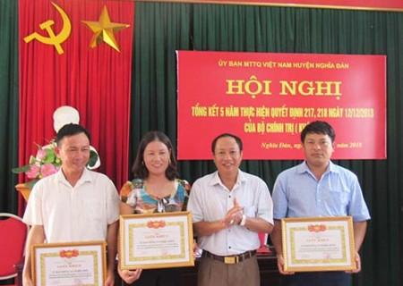 UB MTTQ Việt Nam huyện Nghĩa Đàn thực hiện gần 1.100 cuộc giám sát