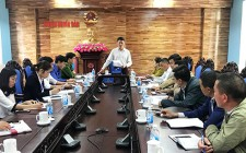 UBND huyện họp bàn về việc giải tỏa vi phạm hành lang ATGT đường bộ trên tuyến đường HCM qua địa bàn 2 xã Nghĩa Long và Nghĩa Lộc