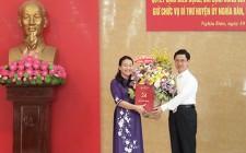 Đồng chí Hoàng Thị Thu Trang giữ chức bí thư Huyện ủy Nghĩa Đàn