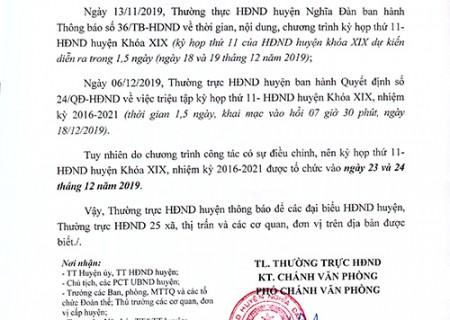 Thông báo thay đổi thời gian kỳ họp thứ 11 HĐND huyện