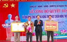 Xã Nghĩa Trung tổ chức công bố Quyết định và đón bằng công nhận xã đạt chuẩn NTM năm 2019