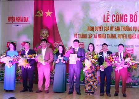 Công bố Nghị quyết thành lập xã Nghĩa Thành
