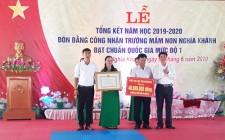 Trường mầm non Nghĩa Khánh đón Bằng công nhận chuẩn Quốc gia mức độ 1